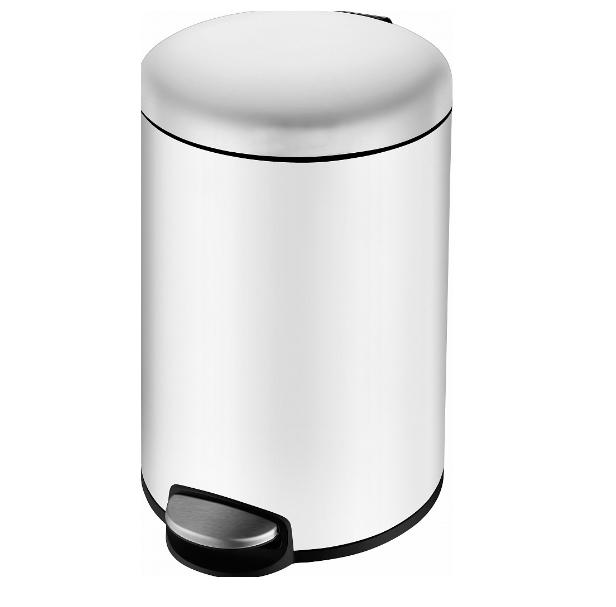 Ведро мусорное Volle округлое 12л, с педалью, белое 14-12-53W