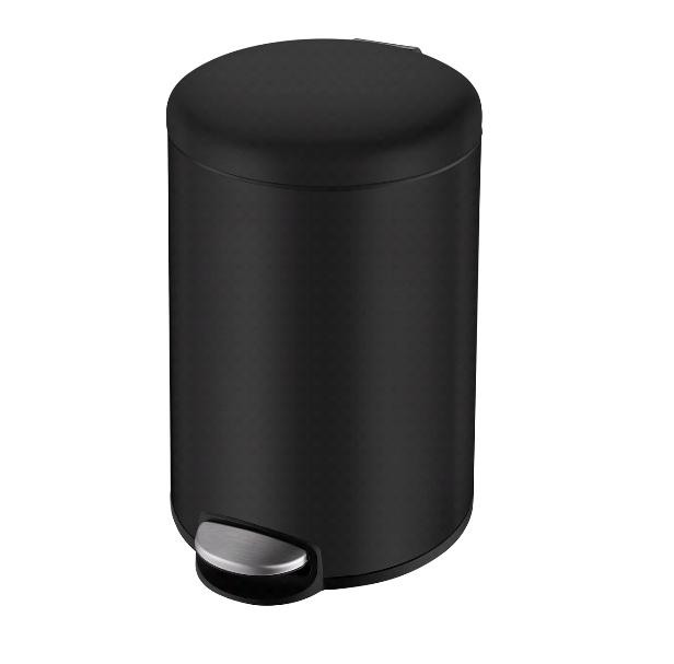 Ведро мусорное Volle округлое 3л, с педалью, черное 14-03-53B