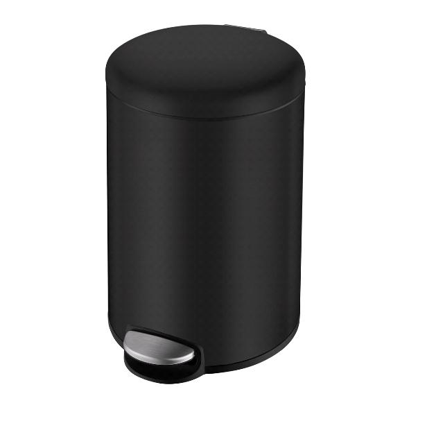 Ведро мусорное Volle округлое 5л, с педалью, черное 14-05-53B