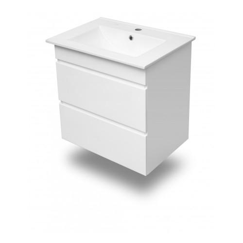 Комплект меблів Volle FIESTA 600: тумба підвісна біла (2 ящика) + умивальник накладної 15-600-01