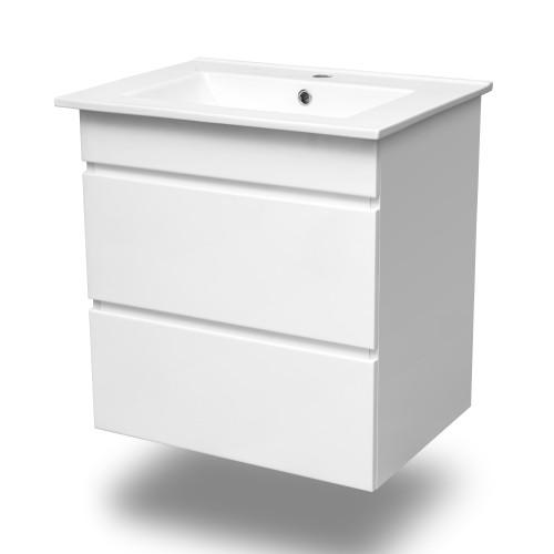 Комплект меблів Volle FIESTA 800: тумба підвісна біла (2 ящика) + умивальник накладної 15-800-01