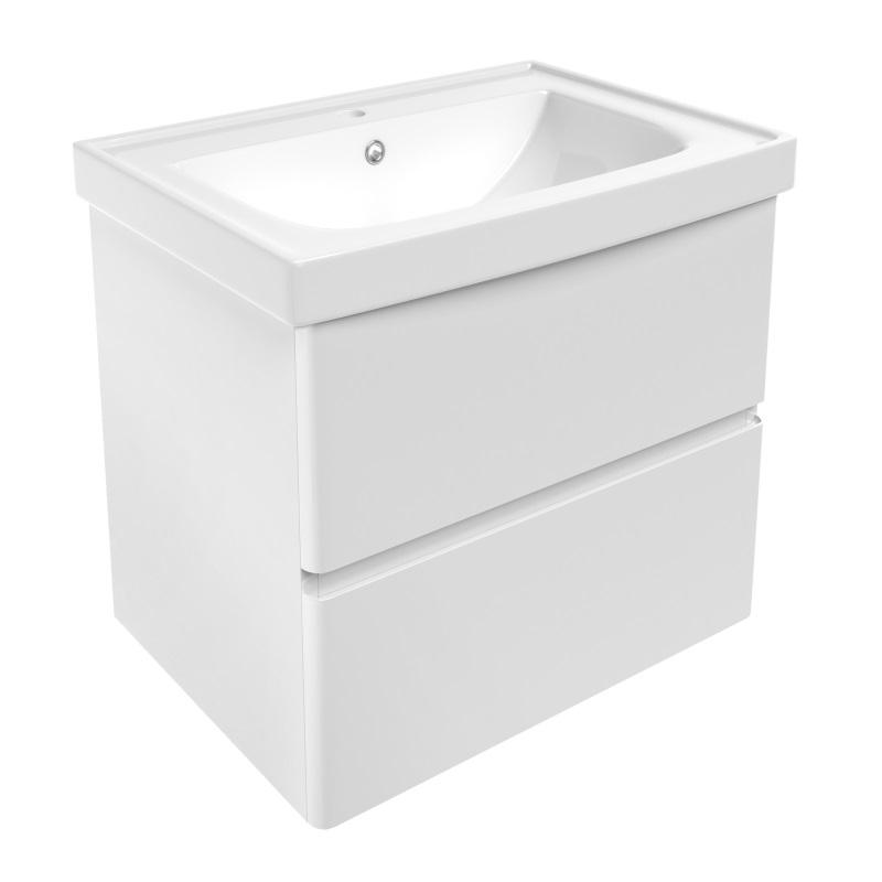 Комплект меблів Volle OLIVA 650: тумба для підлоги біла (2 ящика) + умивальник накладної 15-45-61