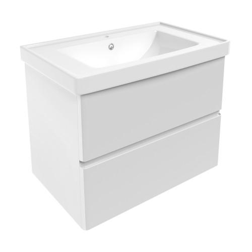 Комплект меблів Volle OLIVA 800: тумба для підлоги біла (2 ящика) + умивальник накладної 15-45-81