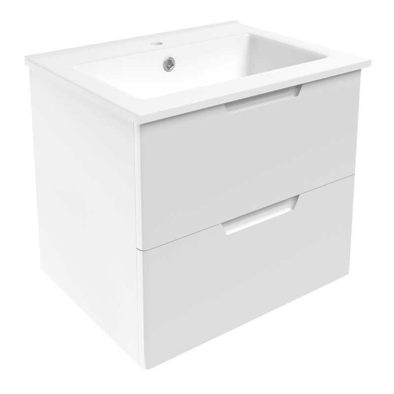 Комплект меблів Volle LIBRA 600: тумба для підлоги біла (2 ящика) + умивальник накладної 15-41-61