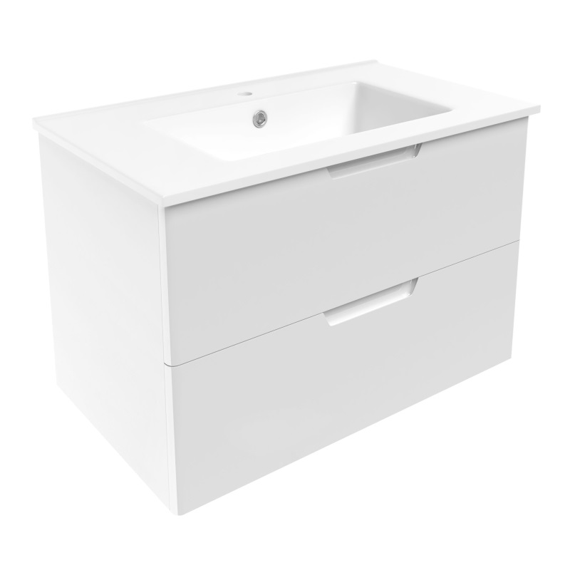 Комплект мебели Volle LIBRA 800: тумба напольная белая (2 ящика) + умывальник накладной 15-41-81