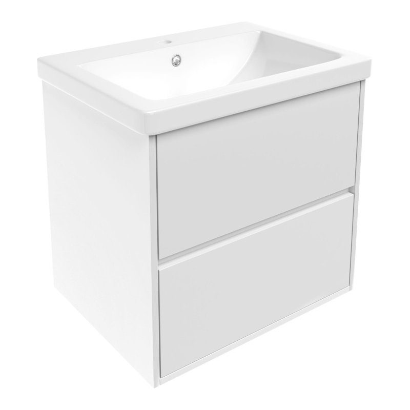 Комплект мебели Volle TEO 650: тумба напольная белая (2 ящика) + умывальник накладной 15-88-61