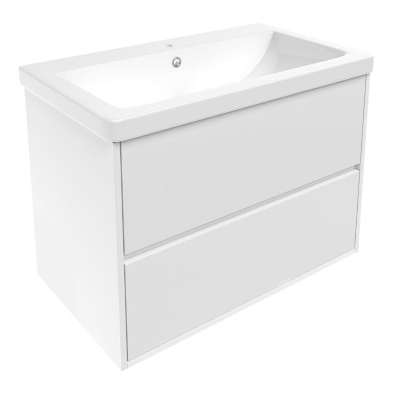 Комплект мебели Volle TEO 800: тумба напольная белая (2 ящика) + умывальник накладной 15-88-81