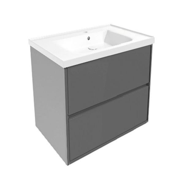 Комплект мебели Volle TEO 650: тумба подвесная серая (2 ящика) + умывальник накладной 15-88-61G