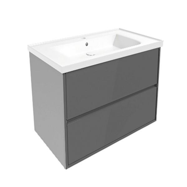 Комплект мебели Volle TEO 800: тумба подвесная серая (2 ящика) + умывальник накладной 15-88-81G