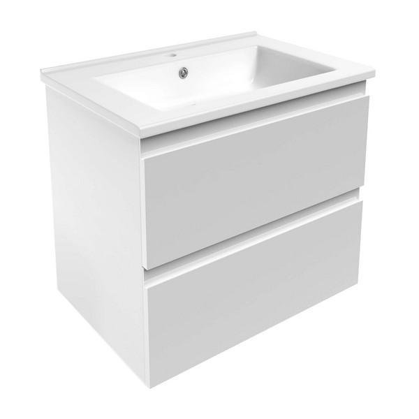 Комплект мебели Volle LEON 650: тумба напольная белая (2 ящика) + умывальник накладной 15-11-65