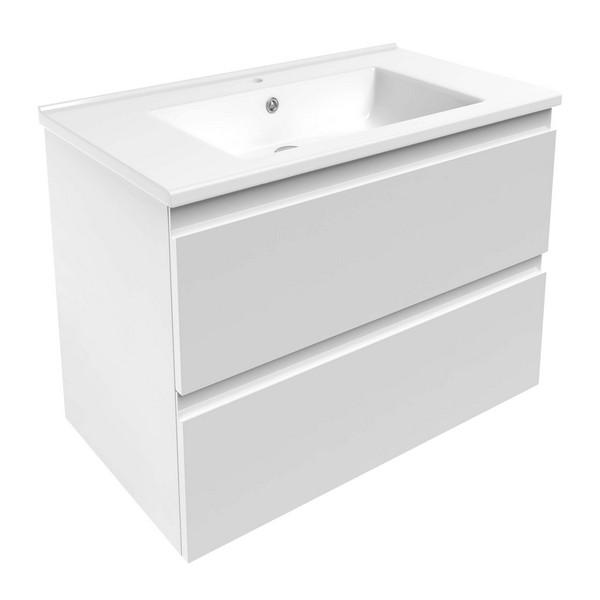 Комплект мебели Volle LEON 800: тумба напольная белая (2 ящика) + умывальник накладной 15-11-81