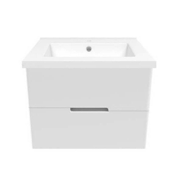Комплект мебели Volle AIVA 60см: тумба подвесная , 2 ящика, белая + умывальник накладной 15-68-60