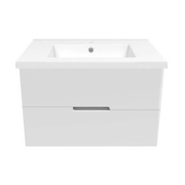 Комплект мебели Volle AIVA 80см: тумба подвесная , 2 ящика, белая + умывальник накладной 15-68-80