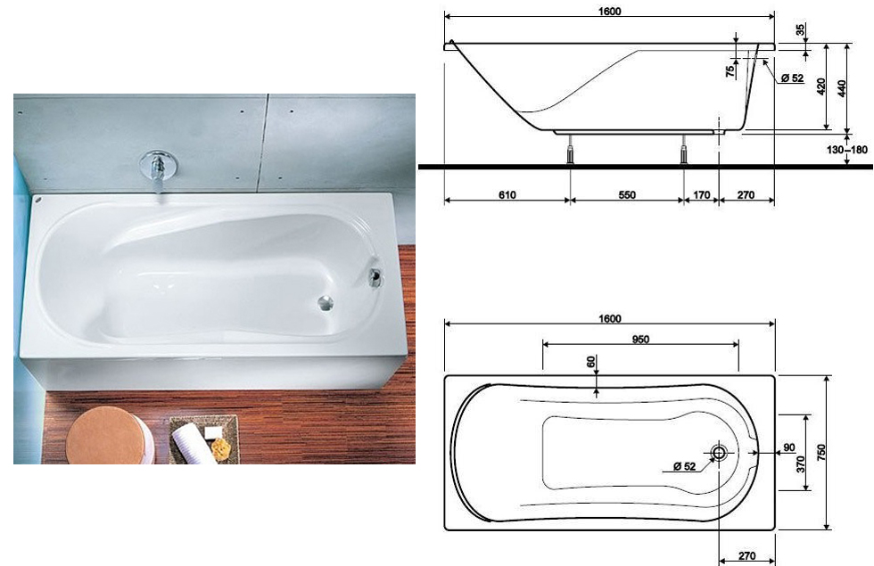 Ванна Kolo Comfort 190х90 + ножки SN7
